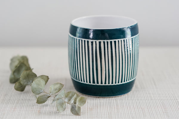 Glossy Navy Everything Cup with Simple Sgraffito Carving