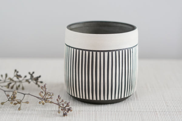 Everything Cup, Carved, in Black Clay, with White Underglaze