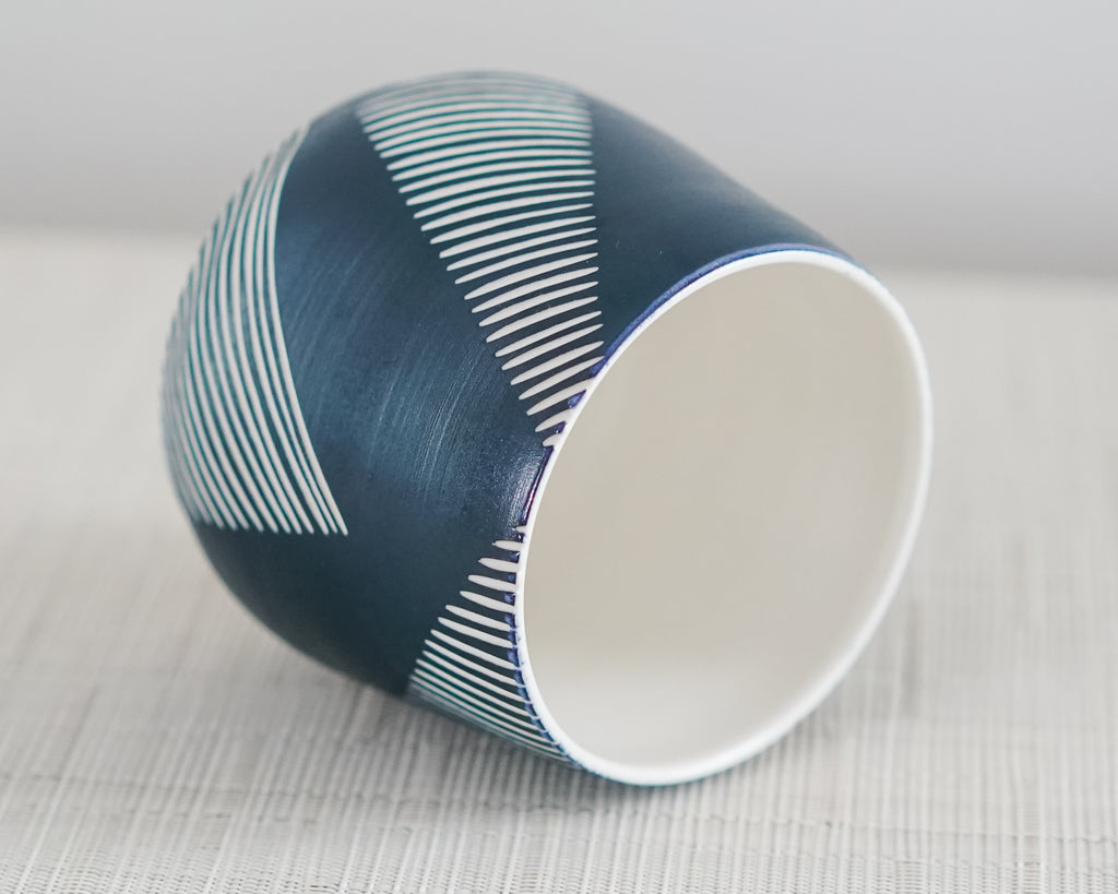 Porch Sipper Everything Cup in Navy with Sgraffito Carving
