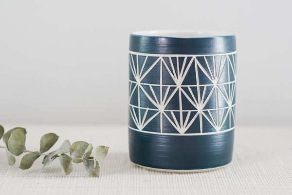 Navy Everything Cup with Modern Sgraffito Carving