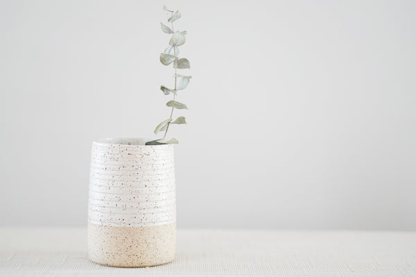 Cylindrical Textured Vase in Speckled Buff