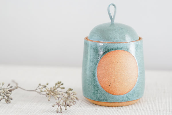 Lidded Jar in Satin Oribe