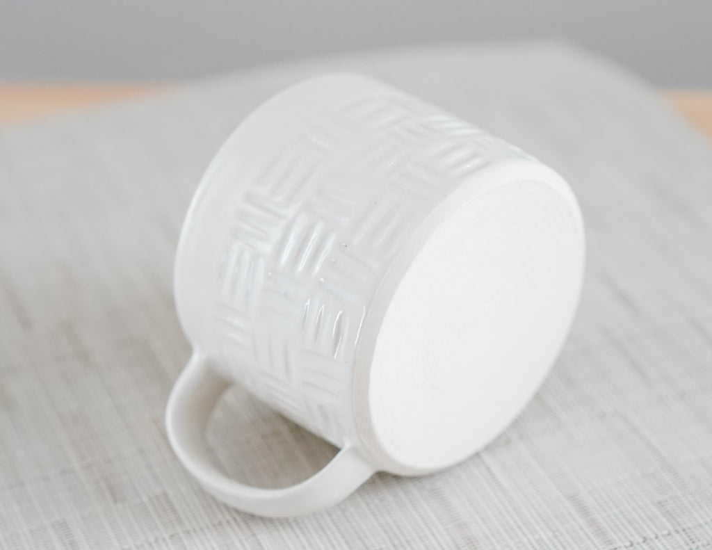 Satin White Carved Basket Weave Mug 10oz