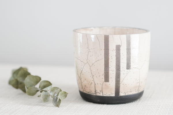Raku Everything Cup in Three Stripe Crackle