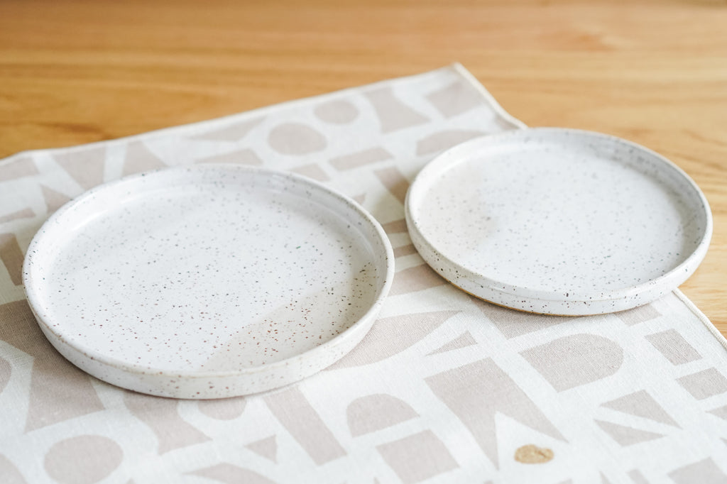 Pair of Snack Plates in Rustic White Sands
