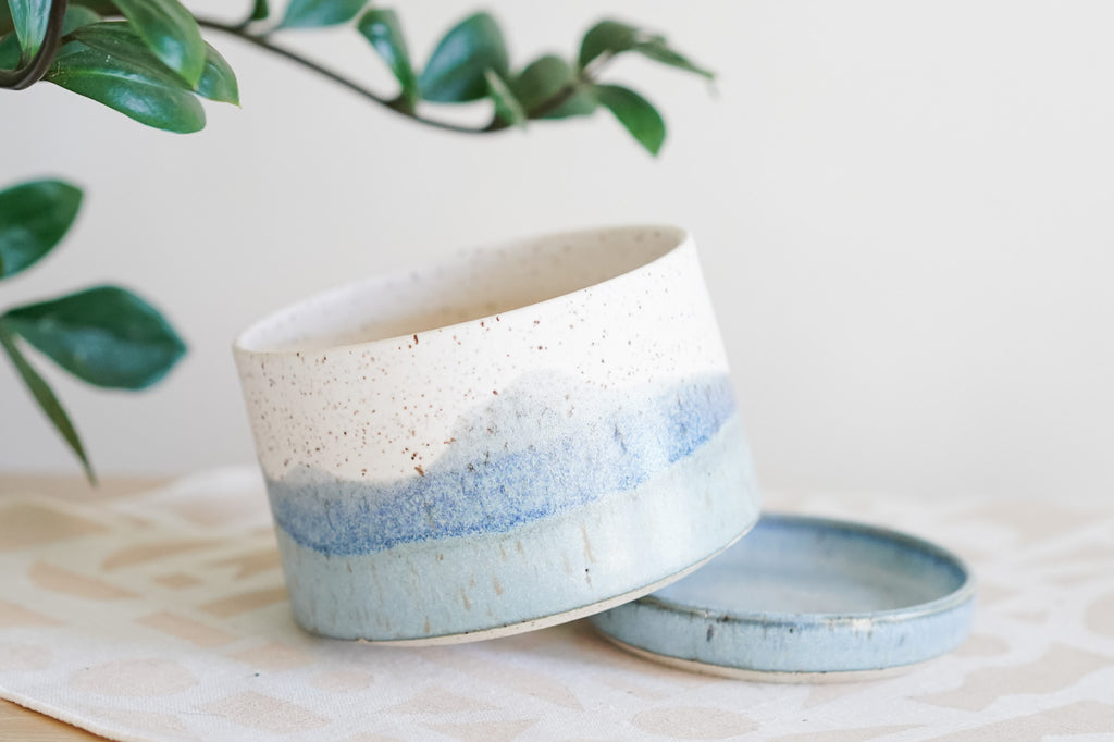 "4"" Two Piece Planter in Seascape"