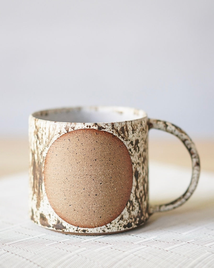 Rustic Freckled Mug with Circle Design 16oz