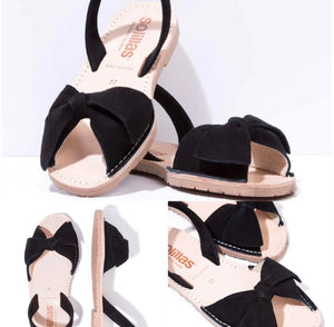 Black Bow Tie Leather Suede Flats