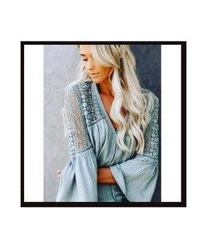 Grey Blouse with Crochet Detail