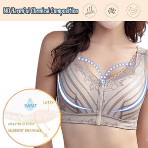 Ladies Front Zipper Sports Breathable Comfy Lift Saggy Breasts Push Up Curve Bra