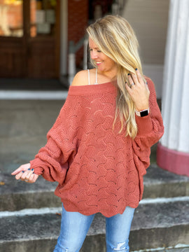 In Your Favor Open Knit Sweater - Ginger