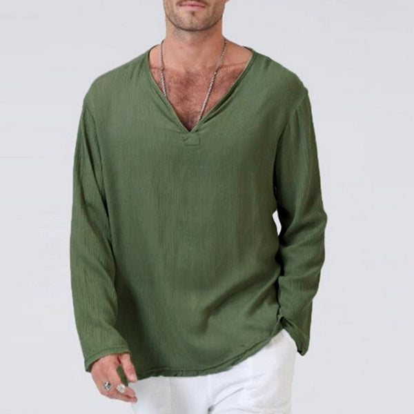 Ethnic Style Cotton And Linen Long-sleeved T-shirt
