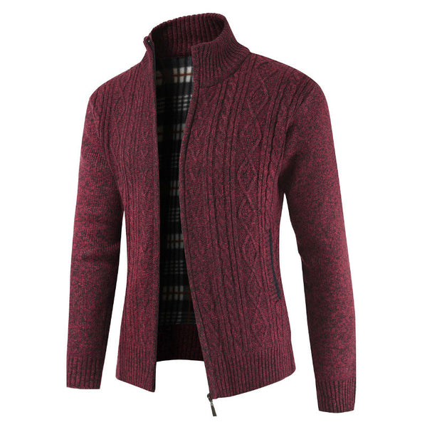 Thick Collar Collar Cardigan Men's Sweater