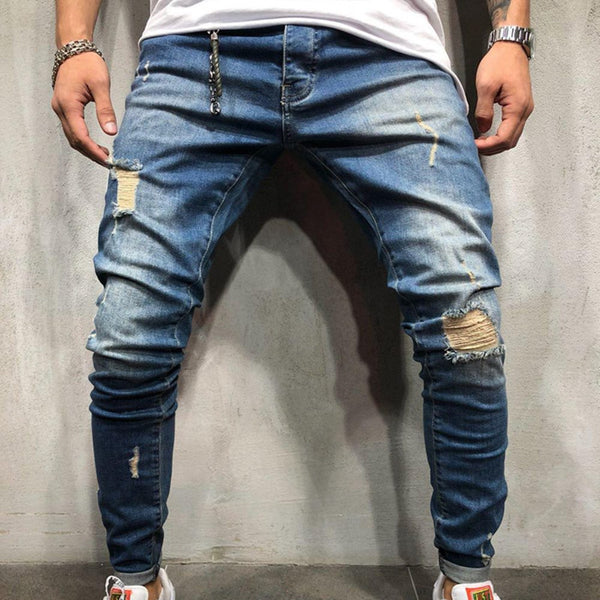 Mens Navy Blue Hole Feet Jeans