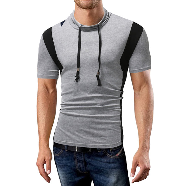 Men's Short Sleeve Color Matching Personality Stand Collar T-shirt