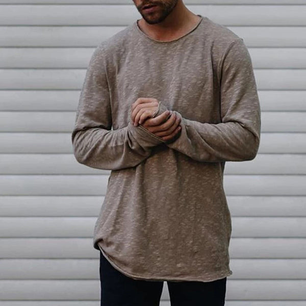 Men's Long Sleeve Solid Color Casual T-shirt