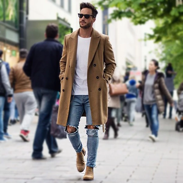 Fashion Solid Color Simple Men's Long Coat