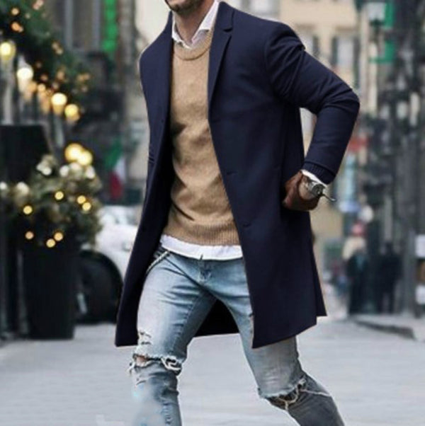 Solid Color Simple Men's Long Woolen Coat