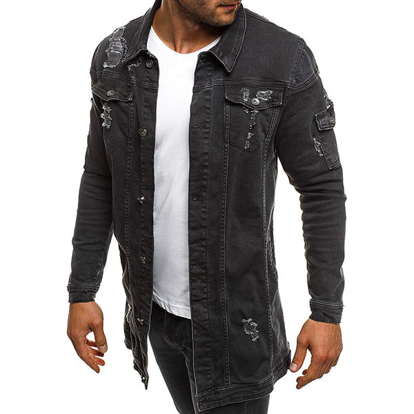 Mid-length Long-sleeved Men's Denim Jacket