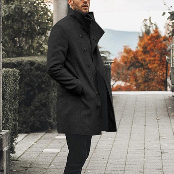 Slim-fit Mid-length Stand Collar Trench Coat