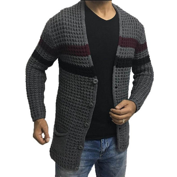 Men's Cardigan Colorblock Sweater