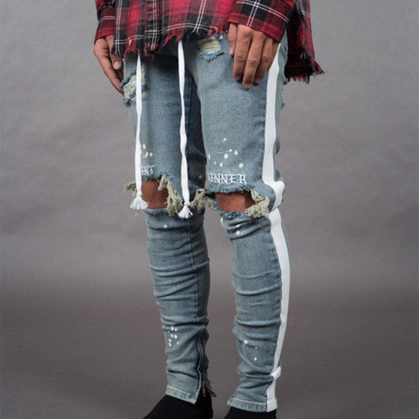 Men's Side White Hole Denim Jeans