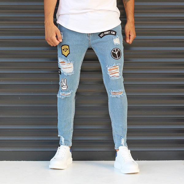 Fashion Embroidered Ripped Jeans