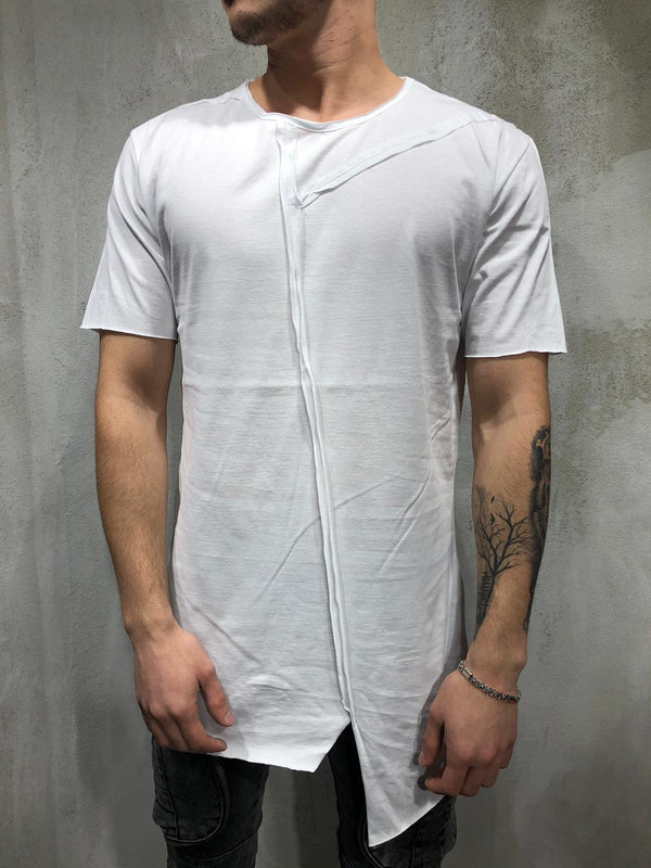 Casual Patchwork Raw Design Short-sleeved Round Neck T-shirt