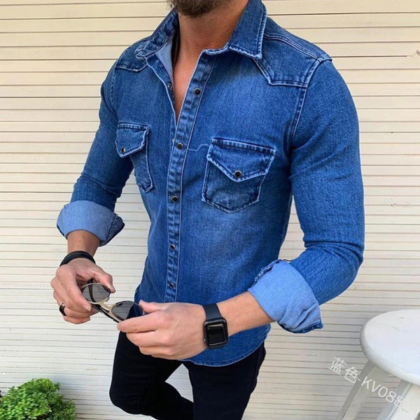 Men's Slim Solid Color Lapel Pocket Top