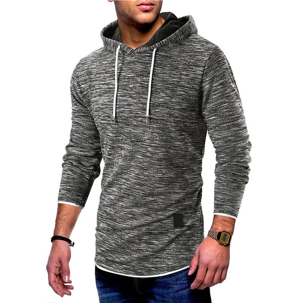 Solid Color Stitching Hooded Men's Sweater