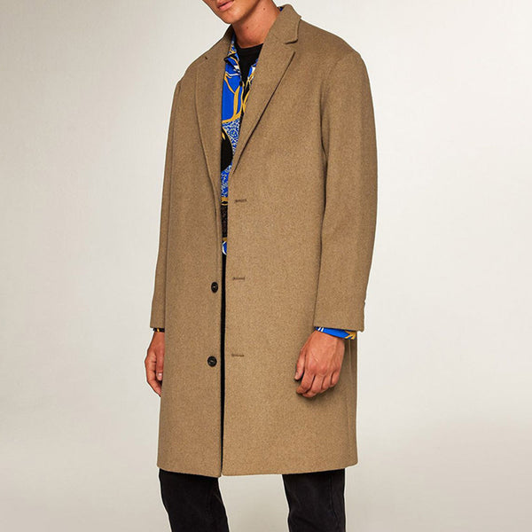 British Men's Long Wool Coat Coat