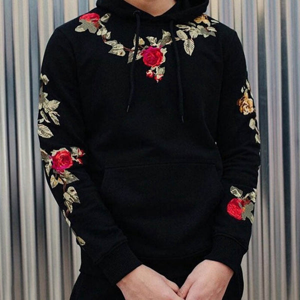 Flower Embroidered Men's Hoodie
