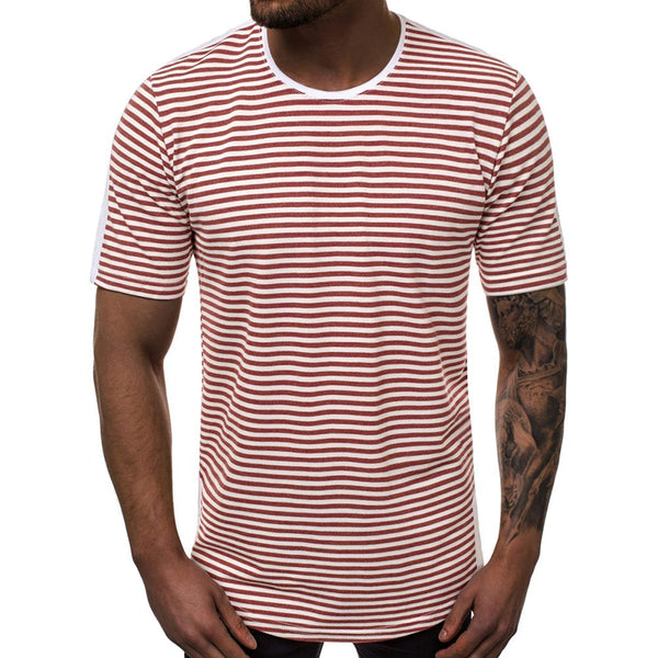 Men's T-shirt Striped Gradient Casual Round Neck T-shirt