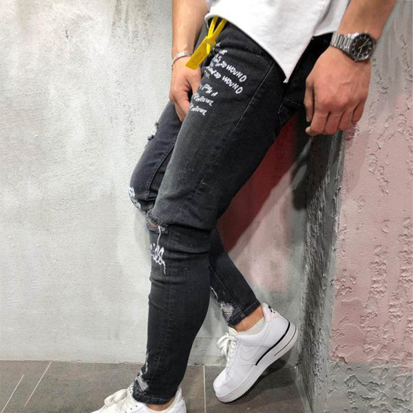 Shredded Jeans, Cow Stretch, Feet Pants Print