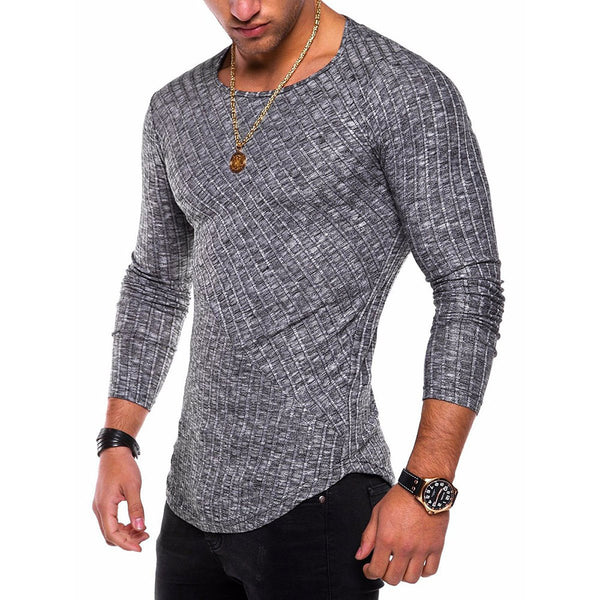 Long Sleeve Men Stitching Slim T-shirt
