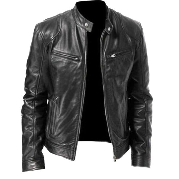 Zippered Collared Gentleman Leather Jacket