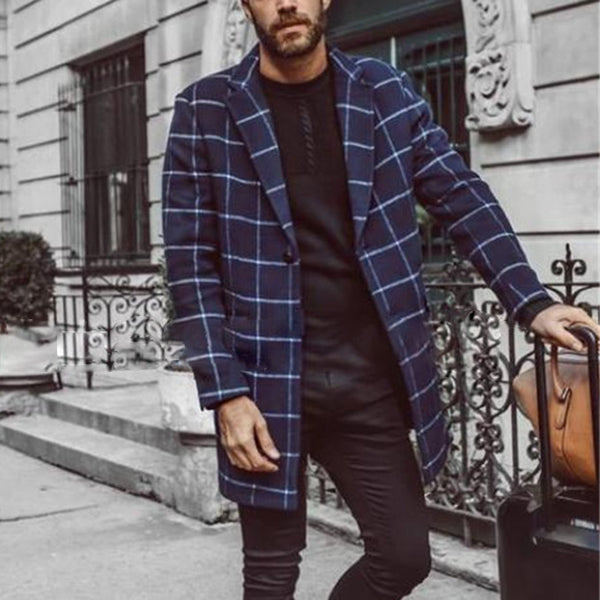 Men's Plaid Thin Tweed Long Slim Coat