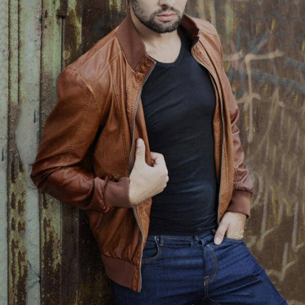 Leather Men's Casual Handsome Jacket