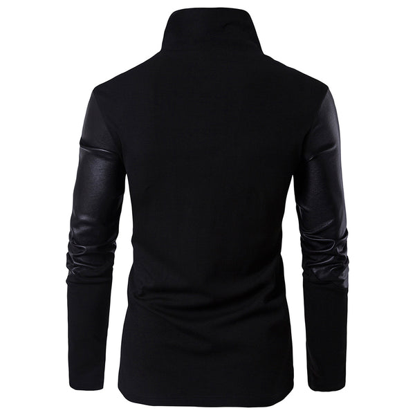 Slim-fit Collar Leather Sweater