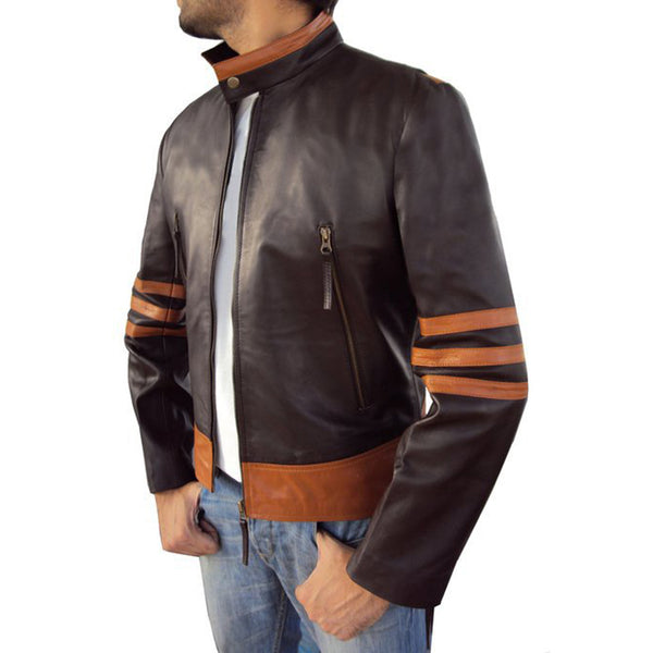 Men's Striped Stand-up Casual Leather Jacket