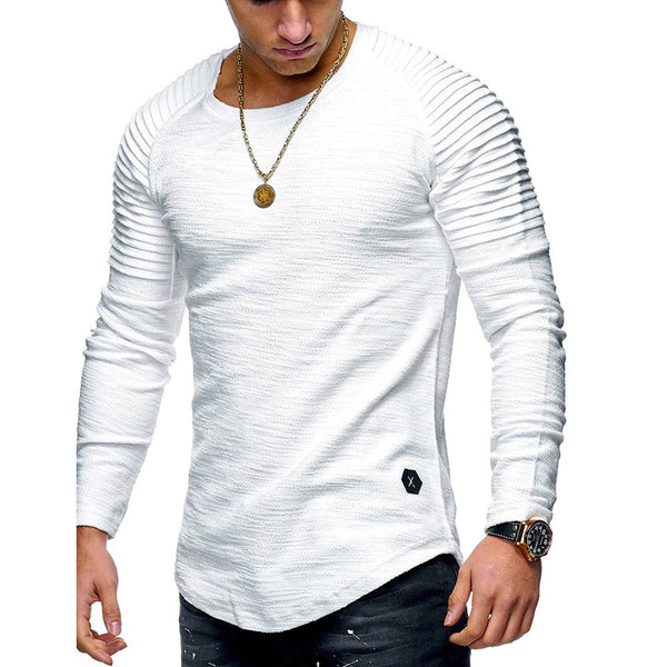 Fashion Round Neck Slim Solid Color Long Sleeve T-shirt