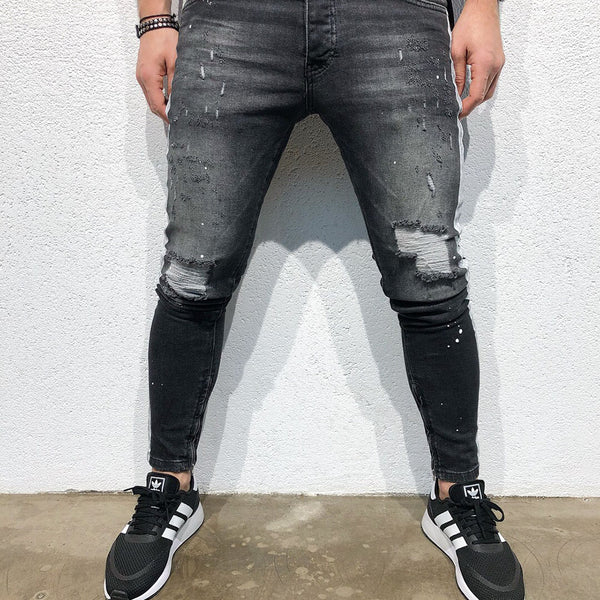 Men's Summer Tight-fitting Ripped Long Trousers