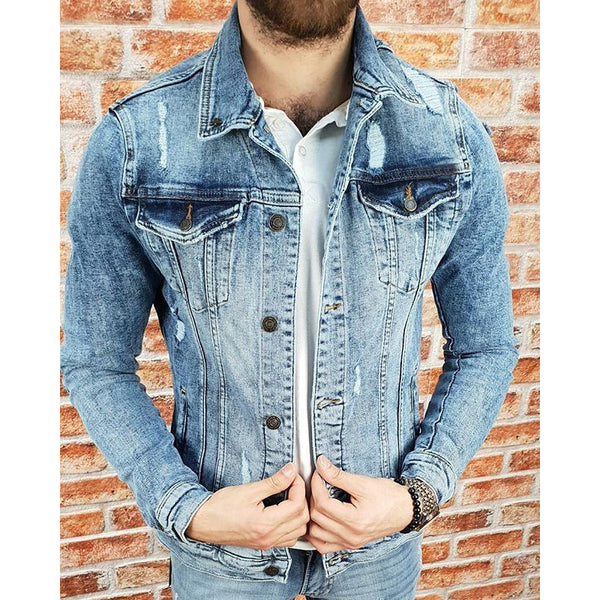 Men's Hole Slim Dark Denim Jacket
