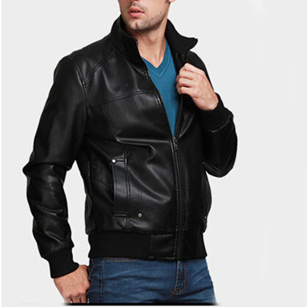 Fashion Men's Slim Leather Jacket