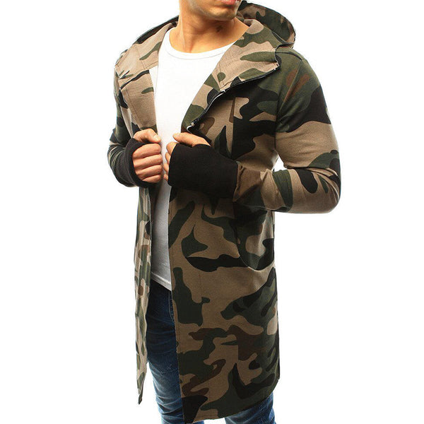 Long Men's Windbreaker In Camouflage Cardigan