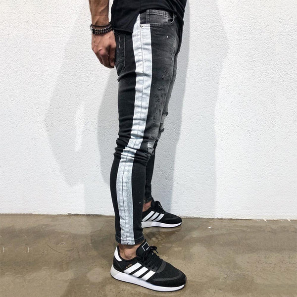 Shredded Feet Jeans Side Print
