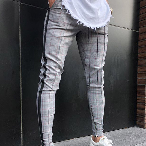 Men's Simple Casual Plaid Trousers