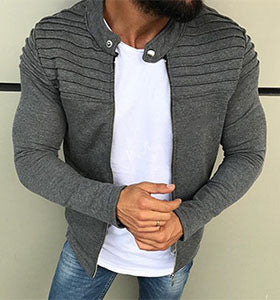 Men's Outdoor Sports Casual Solid Color Wrinkle Cardigan