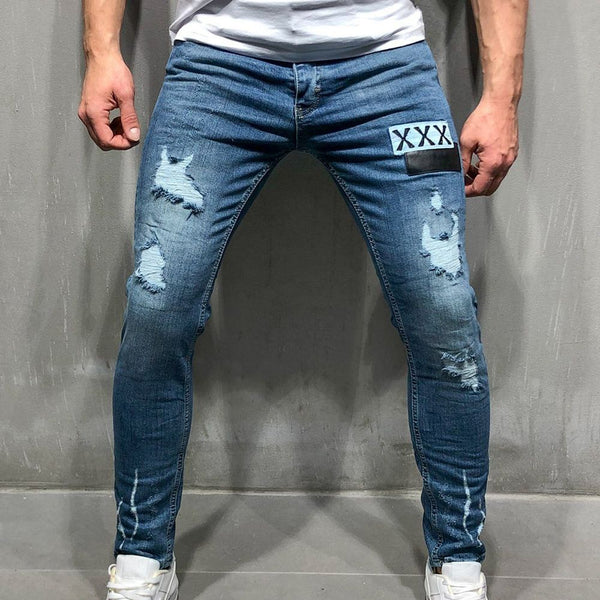Blue Embroidered Stamp Feet Jeans