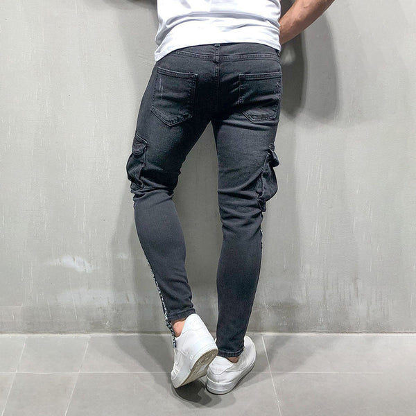Mens Black Broken Hole Feet Zipper Jeans